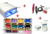Kit manichiura lampa uv pila electrica set unghii false gel