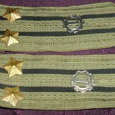 Set efecte militare - 2 epoleti locotenent-colonel RSR, tinuta de vara, insemne ARGINTII serviciul tehnic