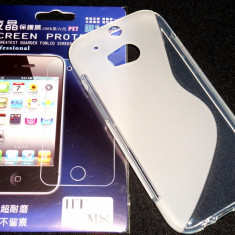 Husa Protectie Silicon Gel TPU HTC One M8 + Folie CADOU!!! - Husa Telefon HTC, Alb