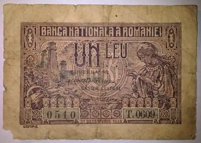 Bancnota - Regatul Romaniei - 1 Leu 21-12-1938 foto