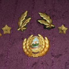Lot insemne militare ofiter superior RSR, 2 petlite, insemn cascheta, 4 stele, 2 insemne serviciul tehnic