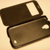 Vand husa telefon negru MOMAX stand view FVSAS4BD Samsung Galaxy S4 i9500, i9505, Piele Ecologica, Toc