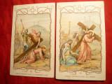 2 Ilustrate- Iconite- Patimile lui Hristos -Ed.Ciocolateria D'Aiguebelle ,Franta ,interbelice