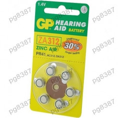 Baterie AC312, R36, zinc-aer (ZnO2), 1,4V, GP, pentru aparate auditive-050421