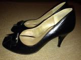 Pantofi negri piele dama Benvenuti, 38, Negru, Cu toc
