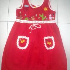Rochie fete din Peru, rosie, cu motive peruane, talia 12, noua, Culoare: Rosu