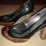 Pantofi dama Benvenuti - Pantof dama, Culoare: Verde, Marime: 38, Verde, Cu toc