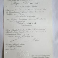 RARISIM!!! BREVET ANULAT MIHAI I CRUCEA SERVICIUL CREDINCIOS CLASA I-A ACORDAT UNUI OFITER AL SERVICIILOR SECRETE NAZISTE