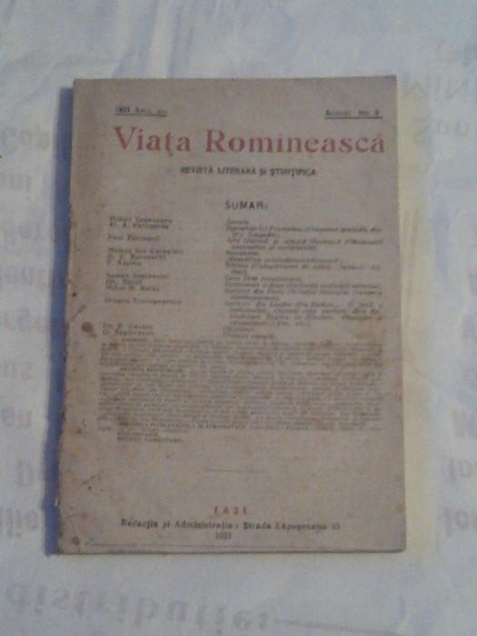 REVISTA VIATA ROMANEASCA ~ REVISTA LITERARA SI STIINTIFICA ~ Nr.8, August 1921