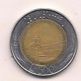 No(1) moneda-ITALIA -500 LIRE -bimetal