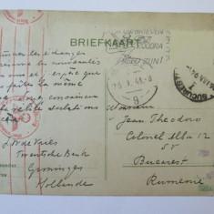 RARITATE! CARTE POSTALA CENZURATA DE COMANDAMENTUL SUPERIOR AL WEHRMACHTULUI(OCUPATIA OLANDEZA) 1941