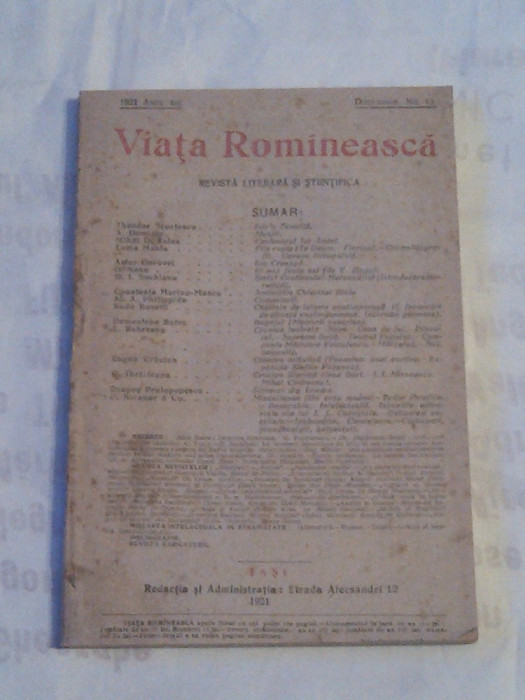 REVISTA VIATA ROMANEASCA ~ REVISTA LITERARA SI STIINTIFICA ~ Nr.12, Decembrie 1921~