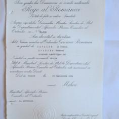 RARITATE!! BREVET MIHAI I ORDINUL COROANA ROMANIEI IN GRAD DE CAVALER ACORDAT ATASATULUI DE LEGATIUNE(SPION) AL AMBASADEI GERMANIEI NAZISTE IN ROMANIA