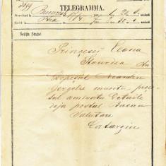 Telegrama trimisa prin anii 1860 printesei Elena Sturdza scrisa si semnata olograf de Lascar Catargi , fost de 4 ori Prim Ministru al Romaniei
