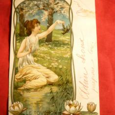 Ilustrata Litografie -Femeie ,Rac - Atingerea -Art Nouveau ,circ. 1903 Franta