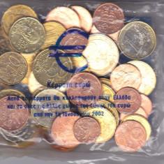 Moneda Grecia Euro Starter Kit 2002 - set oficial = 45 monede Euro necirculate in punga bancii, Europa