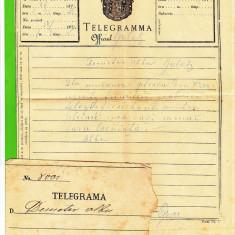Telegrama trimisa in 1871 de la Cernauti la Galati impreuna cu plicul stampilat pe verso
