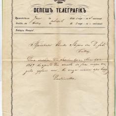 DEPESA TELEGRAFICA scrisa in CIRILICA, telegrama trimisa printesei Elena Sturdza in anul 1860 - Autograf