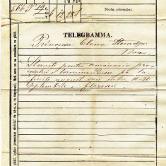 Telegrama trimisa de la Iasi la Bacau printesei Elena Sturdza in anul 1870 - Autograf