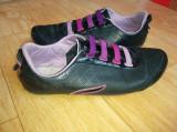 Pantofi din piele firma Lacoste marimea 38,arata impecabil!, Negru, Cu talpa joasa