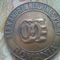 Medalie Alexandria Bearings Plant Romania, 82 grame+ taxele postale = 90 roni - Medalii Romania