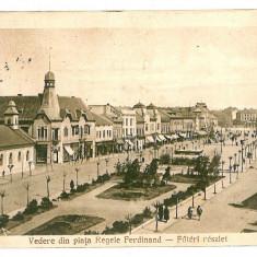 303 - TARGU MURES, market King FERDINAND - old postcard - used - 1926 - Carte Postala Transilvania 1904-1918
