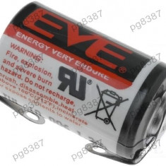 Baterie ER14250, 1/2AA, 1/2R6, litiu, 3,6V, 1100mAh, Ever Battery Co, cu terminale - 050434