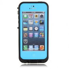Toc subacvatic albastru cu prelungitor casti audio iPhone 5 + folie protectie - Husa Telefon Apple, iPhone 5/5S/SE, Plastic