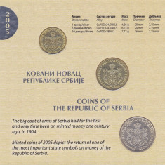 Moneda Serbia 1, 5 si 10 Dinari 2005 - MS2 (KM#39-41) UNC (set de monetarie oficial), Europa