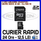 CARD MEMORIE KINGSTON MICRO SDHC 8GB UHS-I 45 MB/S CLASA 10 + ADAPTOR SD, Micro SD, 8 GB