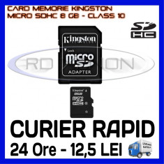 CARD MEMORIE KINGSTON MICRO SDHC 8GB UHS-I 45 MB/S CLASA 10 + ADAPTOR SD, Micro SD, 8 GB