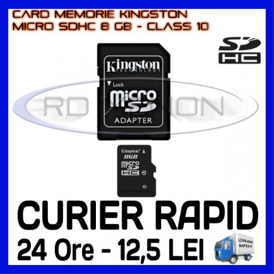 CARD MEMORIE KINGSTON MICRO SDHC 8GB UHS-I 45 MB/S CLASA 10 + ADAPTOR SD foto