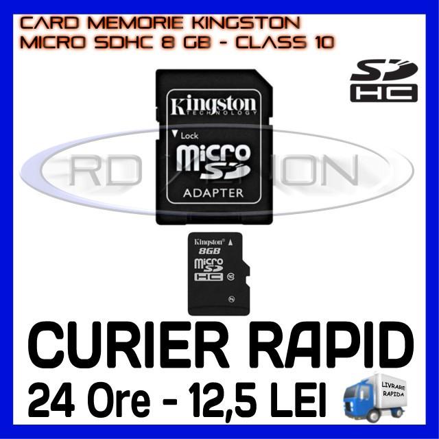CARD MEMORIE KINGSTON MICRO SDHC 8GB UHS-I 45 MB/S CLASA 10 + ADAPTOR SD
