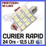 BEC AUTO LED LEDURI - SOFIT FESTOON C5W  - 39 mm 12 SMD - ILUMINARE PLAFONIERA, Universal, ZDM