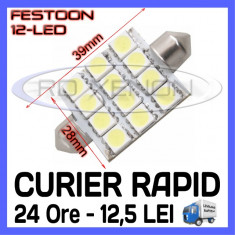 BEC AUTO LED LEDURI - SOFIT FESTOON C5W  - 39 mm 12 SMD - ILUMINARE PLAFONIERA