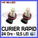 BEC AUTO LED LEDURI H11 18-SMD LUMINI DE ZI (DRL) FAZA LUNGA (FLASH) PROIECTOARE, Universal, ZDM