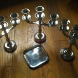 Lot 3 Suporturi Lumanari si farfurioara metal argintat - Metal/Fonta