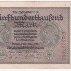 (2) BANCNOTA GERMANIA - 500.000 MARK 1923 (1 MAI 1923), MAI RARA, STARE BUNA