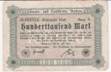 (1) BANCNOTA (NOTGELD) - GERMANIA - AACHEN - 100.000 MARK 1923 (20 IULIE 1923) - EDITIA B - UNIFATA