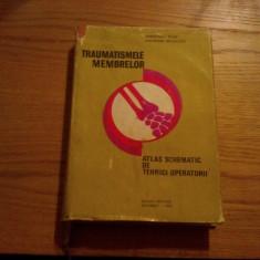 TRAUMATISMELE MEMBRELOR * Atlas Schematic de Tehnici Operatorii  -- Gheorghe Niculescu  -- 1973, 453 p. cu ilustrati in text; tiraj: 1950 ex.