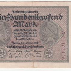 (4) BANCNOTA GERMANIA - 500.000 MARK 1923 (1 MAI 1923), MAI RARA