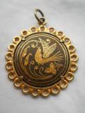 Vechi Medalion poleit cu aur negru de Toledo vintage Superb Finut si Elegant