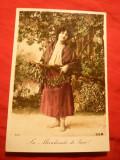Ilustrata -Felicitare- Vanzatoare de Vasc , cca. 1906 , semnata BOB , Franta