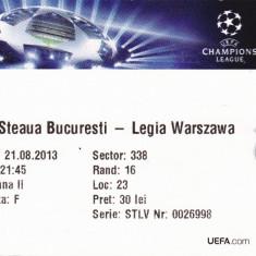 Bilet meci fotbal STEAUA Bucuresti - LEGIA Varsovia 21.08.2013
