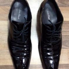 Pantofi Calvin Klein, piele naturala lacuita - Pantofi barbat Calvin Klein, Marime: 41.5, Culoare: Negru
