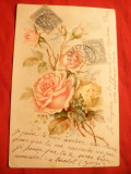 Ilustrata TCV  2 timbre-Felicitare- Trandafiri, piesa de autor ,circ.1904 ,Franta