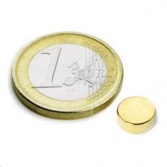 Magnet neodim disc, diametru 8 mm, putere 1, 1 kg, placat aur