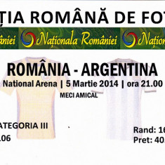 Bilet meci fotbal ROMANIA - ARGENTINA 05.03.2014