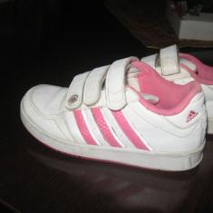 Adidasi ADIDAS masura 29 - Adidasi copii, Culoare: Alb, Fete, Piele naturala
