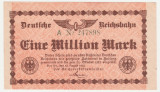 (1) BANCNOTA GERMANIA - DEUTSCHE REICHSBAHN - 1.000.000 MARK 1923 (12 AUGUST 1923) - UNIFATA, STARE BUNA